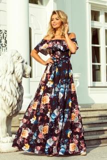 Dlouhé květinové šaty s volánem Numoco 194-3 černé empty 7806b16cdc7