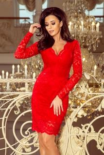 4643784e452d Krajkové šaty dlouhý rukáv Numoco 170-6 červené empty