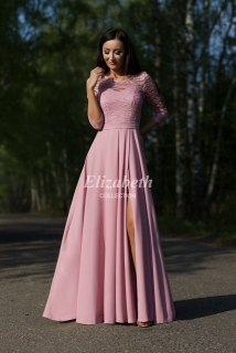 06718afa36c4 Dlouhé společenské šaty Eliza s rukávem starorůžové empty