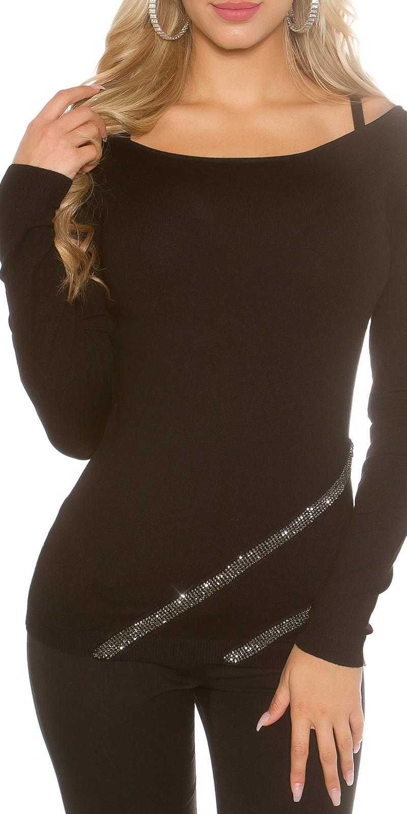 Jemný pletený svetr Koucla s kamínky černý