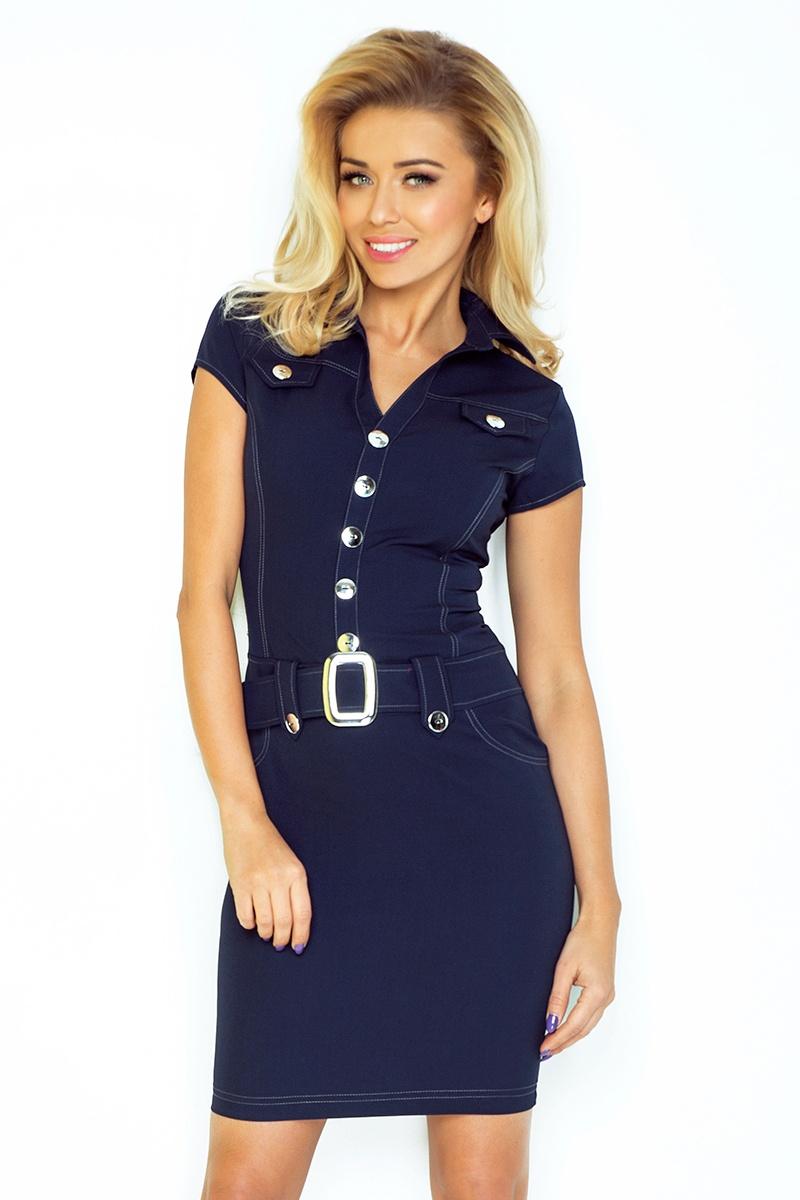 NUMOCO 142-2 dámské šaty s velkými knoflíky modré