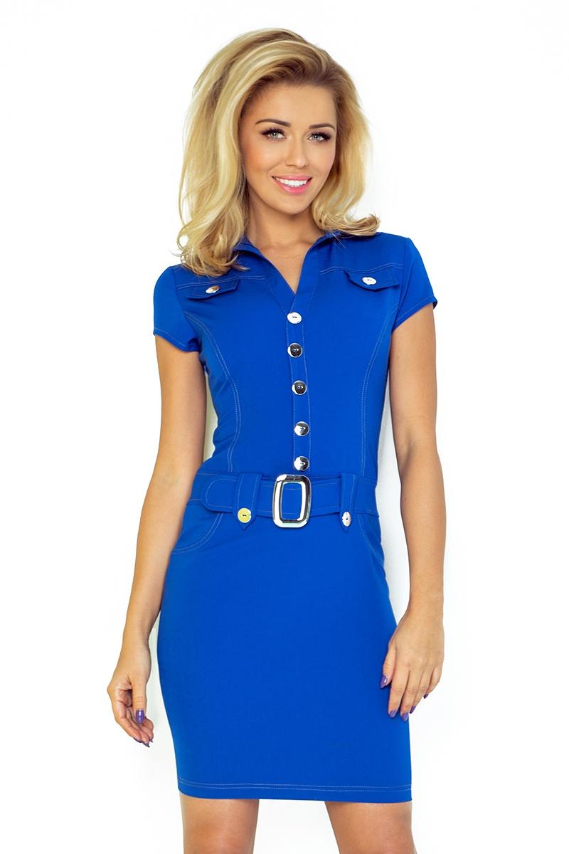 NUMOCO 142-3 šaty s velkými knoflíky modré
