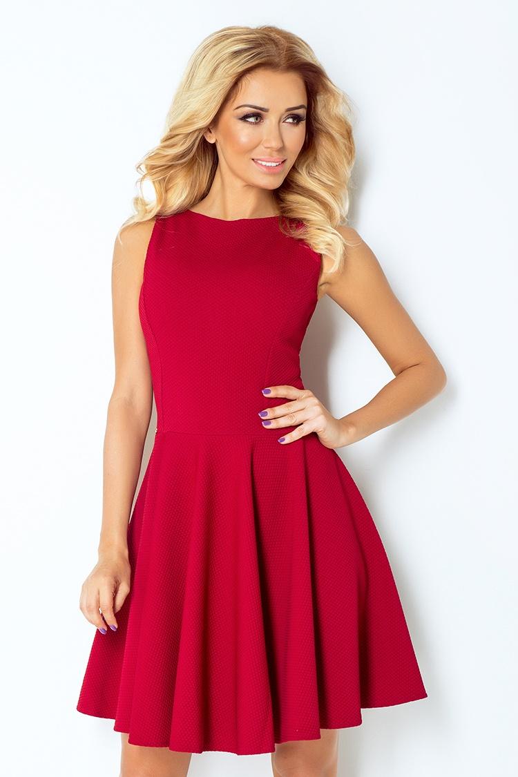 NUMOCO 125-1 dámské elegantní šaty bordó