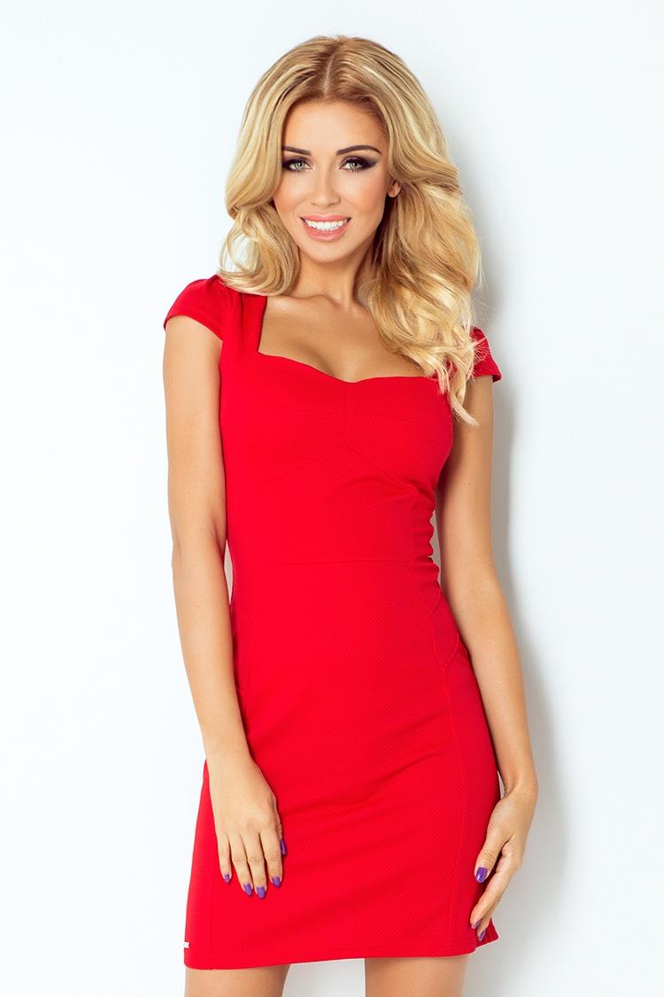 Dámské společenské šaty s krátkým rukávem červené (118-2)