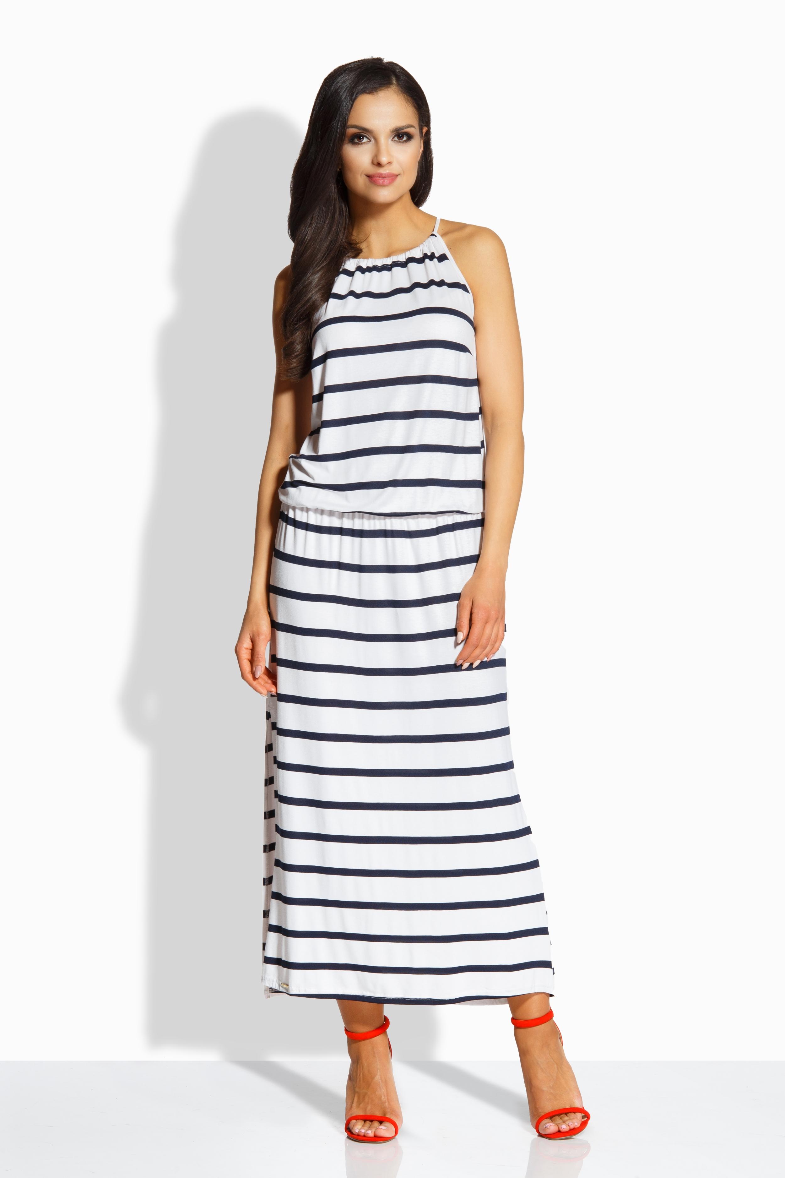 Dlouhé letní šaty LEMONIADE L213 bílé s pruhy
