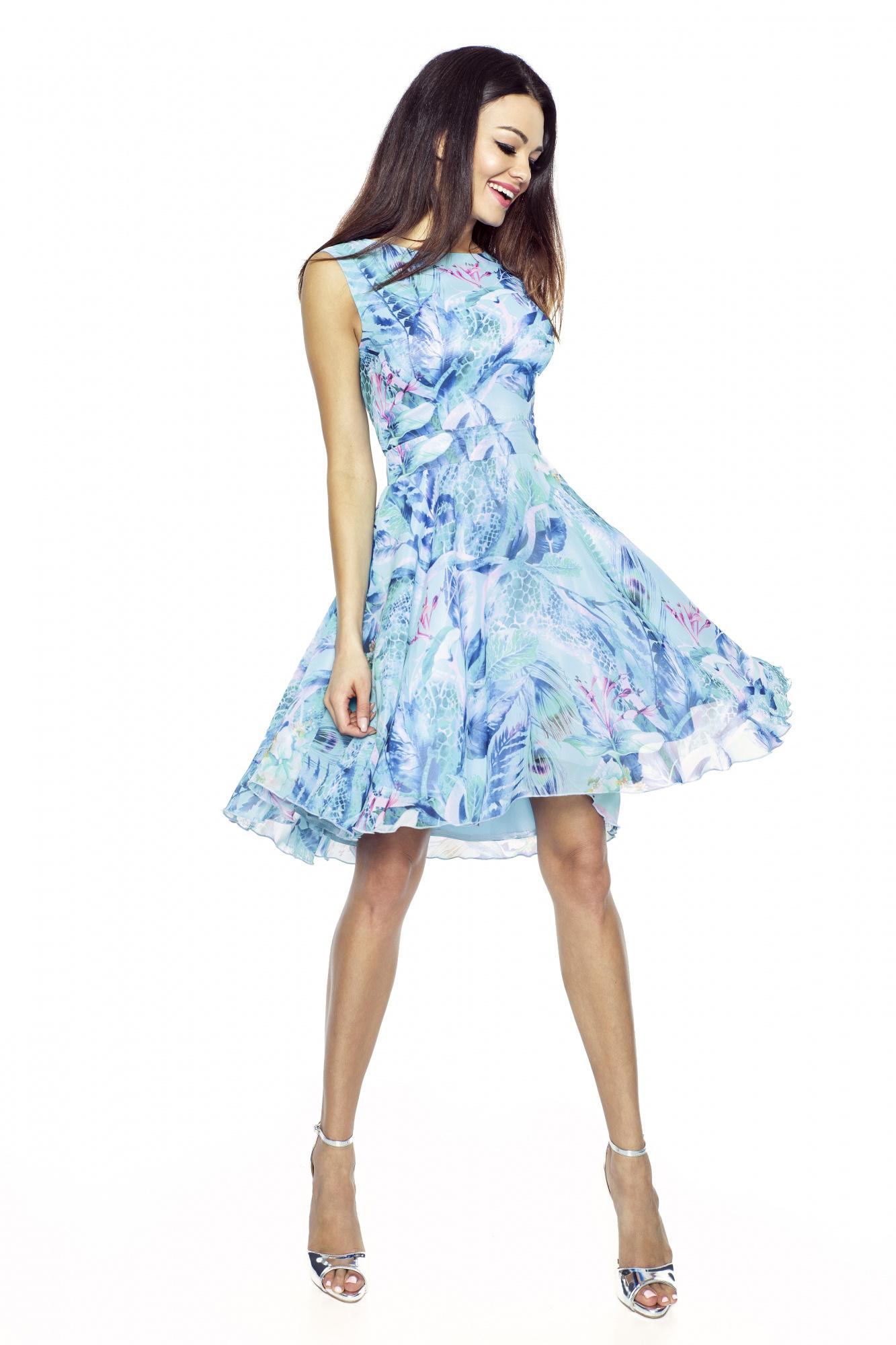 Elegantní šifónové šaty KARTES 219-1 modré