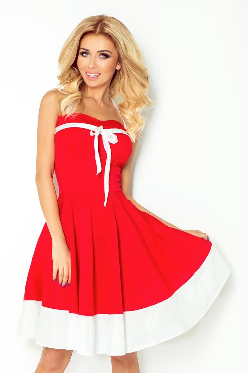 Dámské šaty Rockabilly pin up Numoco 30-17 červené s bílým pruhem