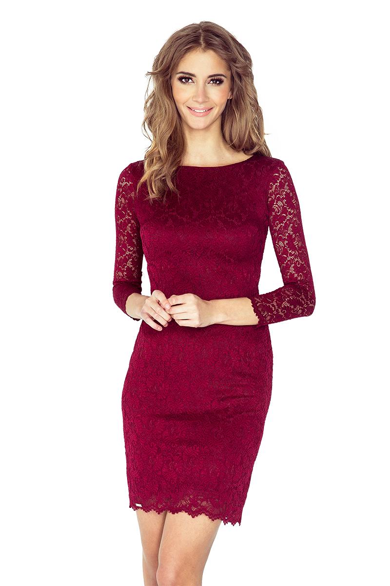 Luxusní krajkové šaty Numoco 145-2 vínové
