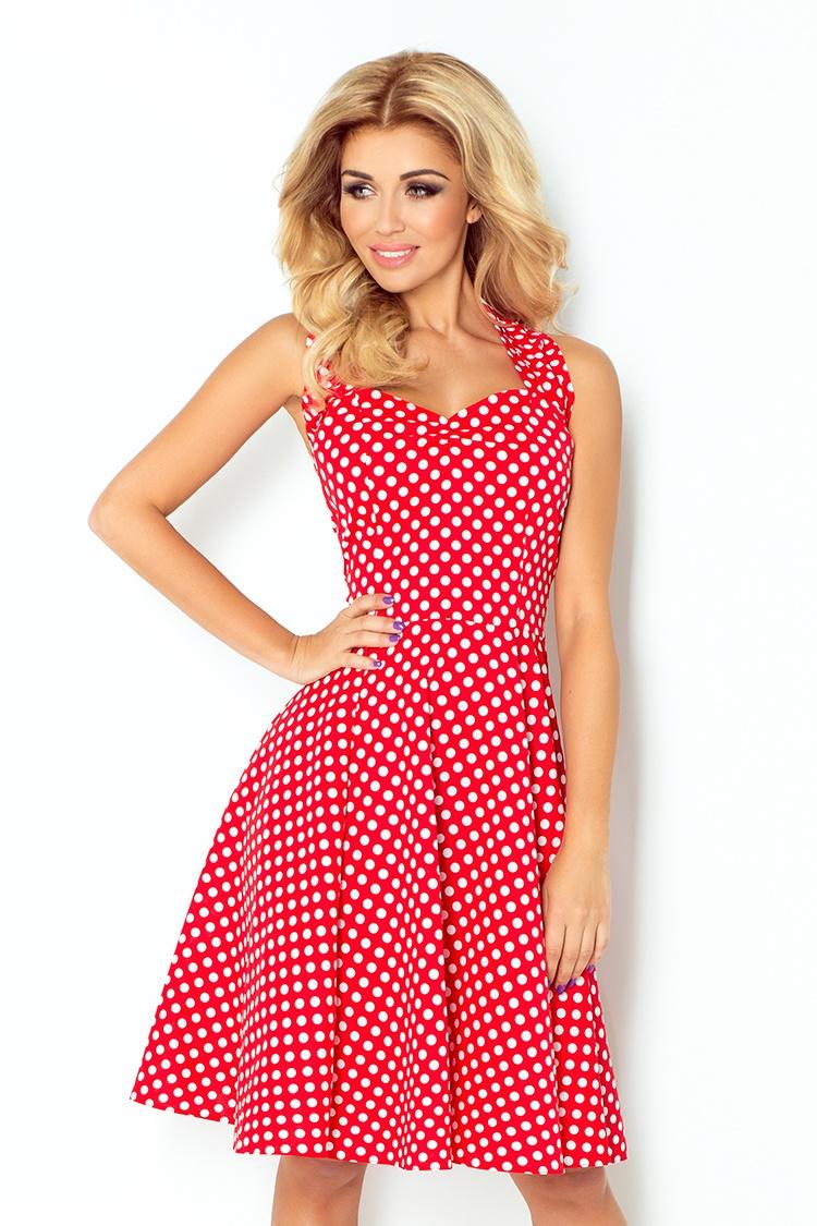 Dámské šaty Rockabilly pin up Numoco 30-19 červené s bílými puntíky