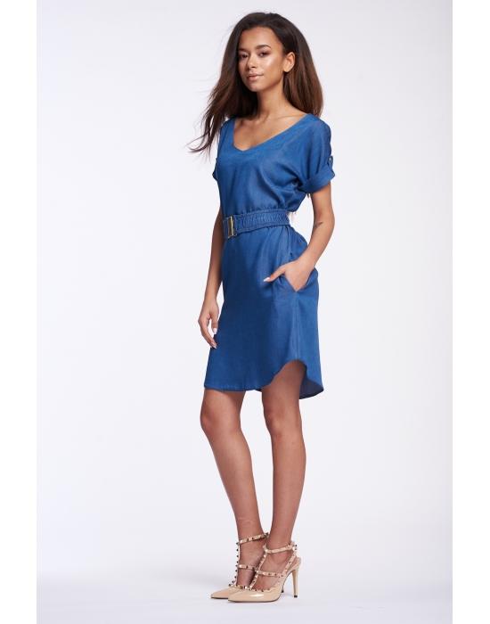 Jeansové šaty MOSQUITO modré s páskem